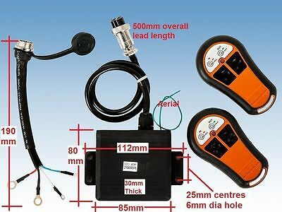 WINCH WIRELESS REMOTE CONTROL TWIN HANDSET 12V 12 VOLT  EXTERNAL MOUNT RECEIVER