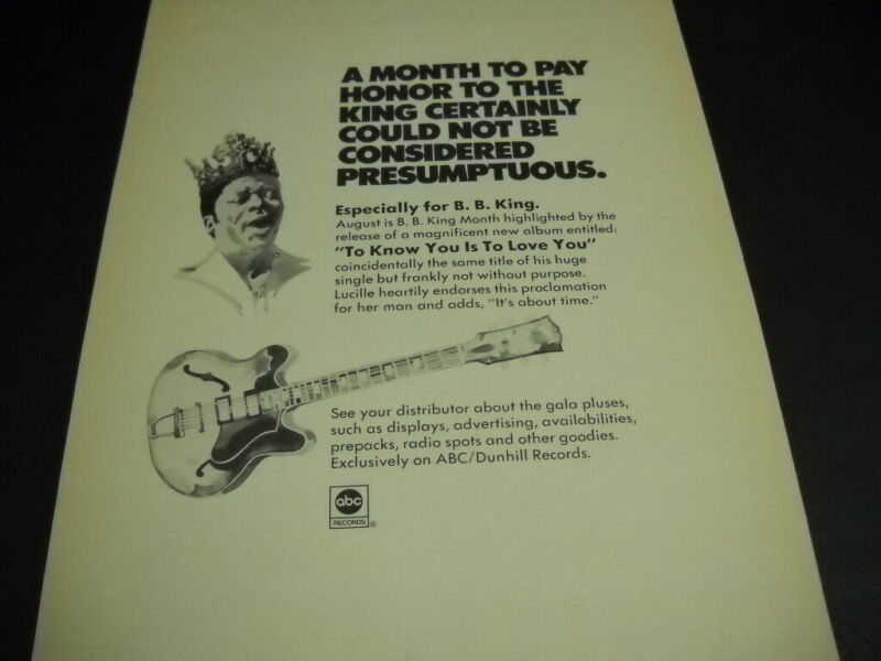 B.B. KING is heartly endorsed by LUCILLE month of August 1973 PROMO POSTER AD