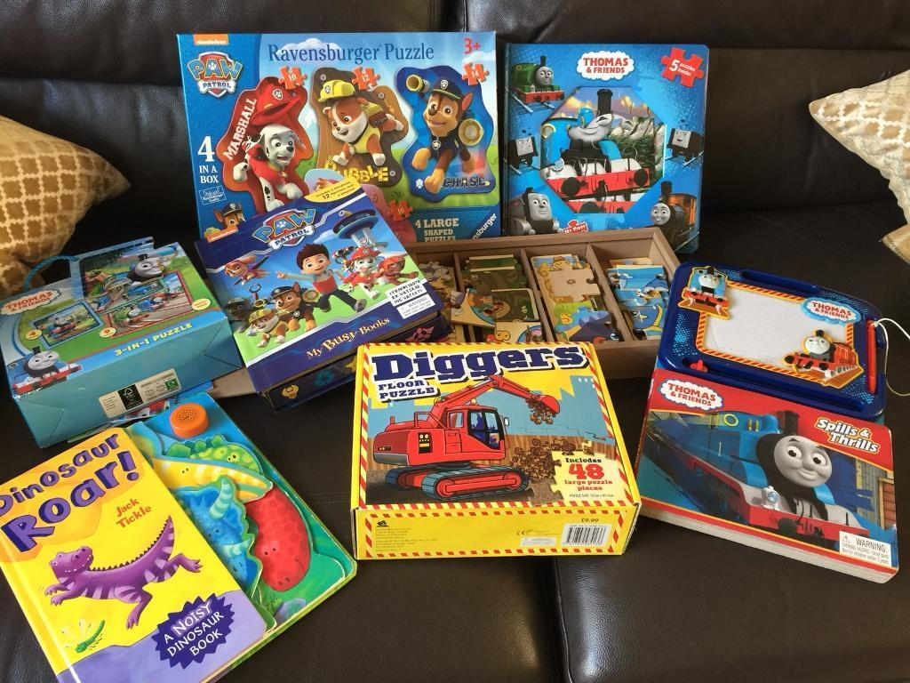 Children' toys, puzzles and books