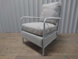Kelly Hoppen Light Grey Metal Curved Lattice Back Armchair. Absolute Bargain at £150!!! (RRP £700)