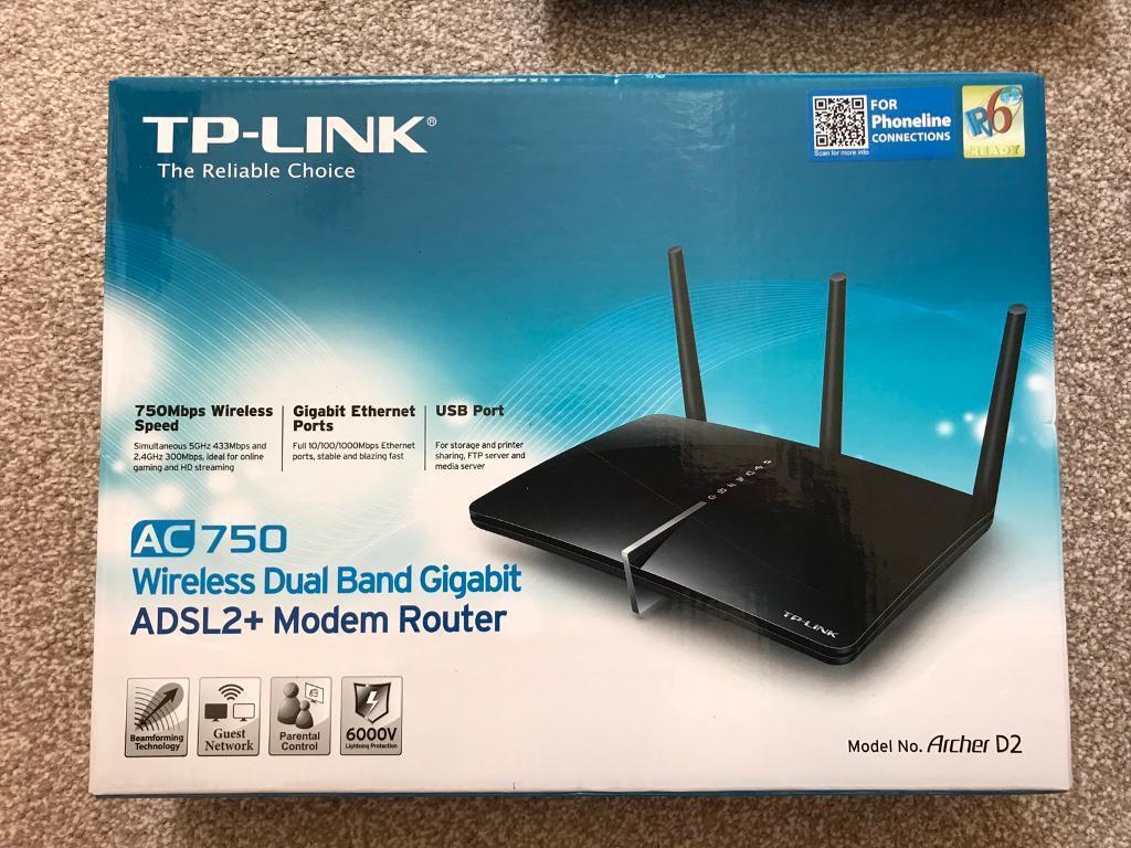TP-LINK (ARCHER D2) AC750 300+433 WIRELESS DUAL BAND ADSL2+ MODEM ...