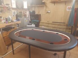 Poker table.-hand made-8seater poker table.cup holders-LED light trim-removable screw legs