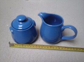 Rayware Blue Sugar Bowl and Jug set
