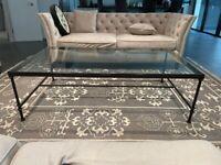 OKA Metal & Glass Coffee Table, Large - 150cm x 90cm x 46.5 height cm
