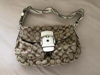 Coach Soho Signature Tan Braided White Leather Strap Handbag / Shoulder Bag