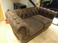Used Chesterfield 2 Seater Sofa in Light Brown Faux Leather for sale
