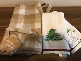 NEW Christmas hand towels & apron