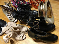 7 pair ladies sandals,ankle boots,+ free pair flats,all in excellent condition,no scuffs or marks