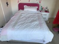 Double Divan Bed Base and Mattress with 2 storage drawers at base