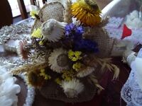 dried flower and hessian country bridal bouquet
