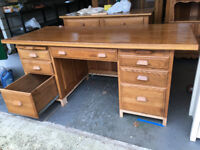 Solid wood desk, clear varnished. Large, heavy and high quality