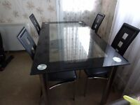 Modern Black & Clear Glass Dining Table and 4 chairs
