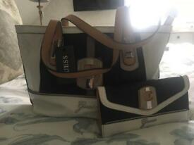 Attractive black and white Guess bag and purse set
