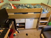 Cabin bed with storage unit and desk