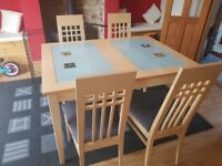 Beech kitchen dining table and chairs