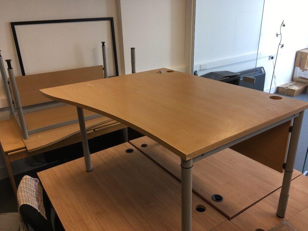 sturdy office desk. 2 X FREE Sturdy Office Desks, Light Wood Curved Design (work Together As Edit Desk H
