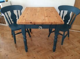 Solid wood table and x2 chairs painted in Annie Sloan Aubusson Blue chalk paint