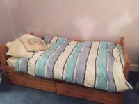 Quality John Lewis Pine Single Bed Frame and accompanying Mattress - 2m x 1m x 0.75m - dismountable