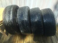 FOUR TYRES 195/55 R15 ON ALLOY WHEELS, 3 AS NEW, 1 IS PART WORN, PHOTOS OF ALL INDIVIDUAL TYRES