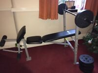 Weight bench pro fitness and 6 x 5kg weights on bar weight training