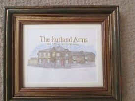 FRAMED PICTURE OF THE RUTLAND ARMS , AYLESTONE , LEICESTER