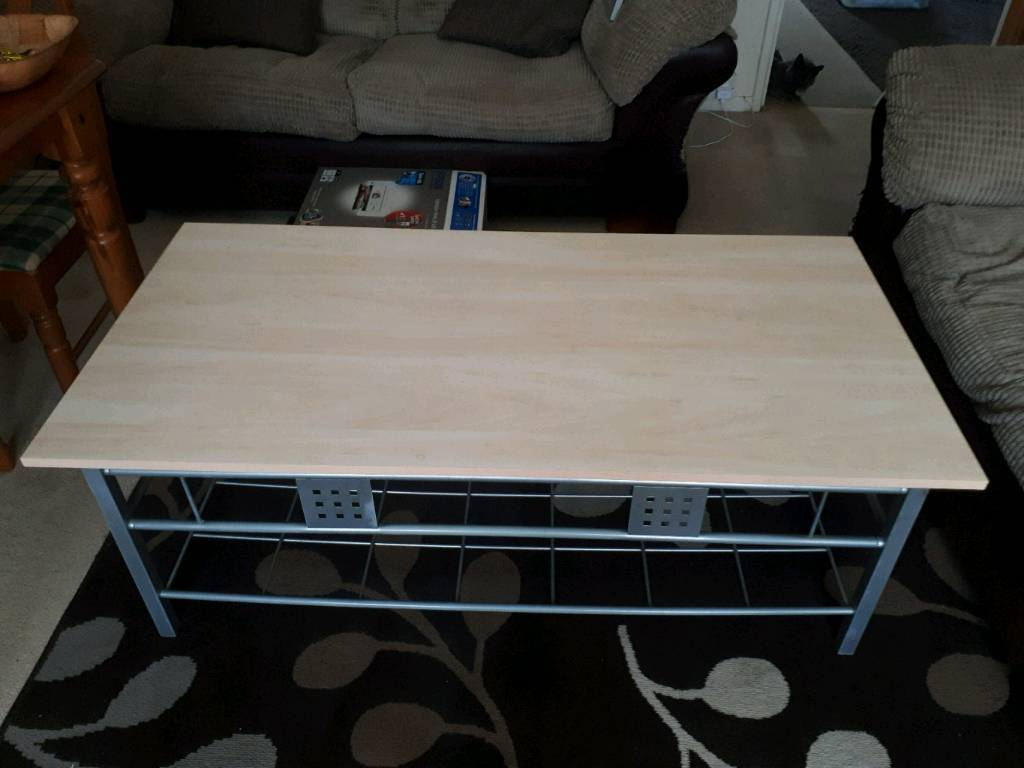Coffee table Teak Top with Ornate lower shelf and legs