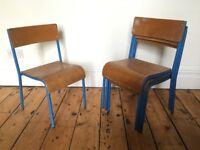 Children's Metal Tubular Bent Ply Vintage Stacking School Chairs Shepherd Pel £15 EACH