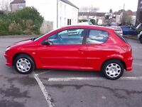 PEUGEOT 206 1.4 LOOK 84000m RED LOW INSURANCE ELECTRIC WINDOWS PART EXCHANGE WELCOME