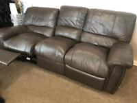 2 + 3 seater Leather reclining sofas BROWN