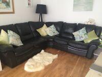 Black leather corner sofa - five seater