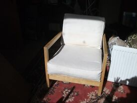 BEECH ROCKER CHAIR WITH WHITE CUSHIONS