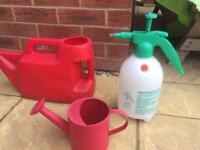 Assorted Watering cans, and spray cans
