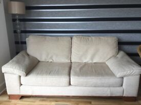 Three & two seater sofas beige good condition very comfy sofas