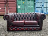 Beautiful Chesterfield 2 Seater Oxblood Leather Sofa