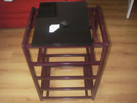 Quality Target Hi-Fi Equipment Stand 5 Shelves - Spiked - Burgundy Colour