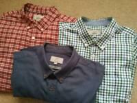 M & S x3 Cotton Oxford long sleeve men's shirts.