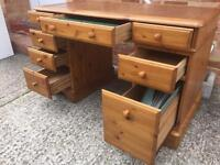 DUCAL SOLID PINE DESK WITH DRAWERS FILING DIVIDERS LEATHER INLAY. Can deliver.