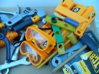 JCB toy power tools and accessories (with matching storage box)