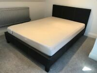 Brown Leather Double Bed and Memory Foam Mattress