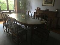 Chinese cherrywood dining table and 8 chairs