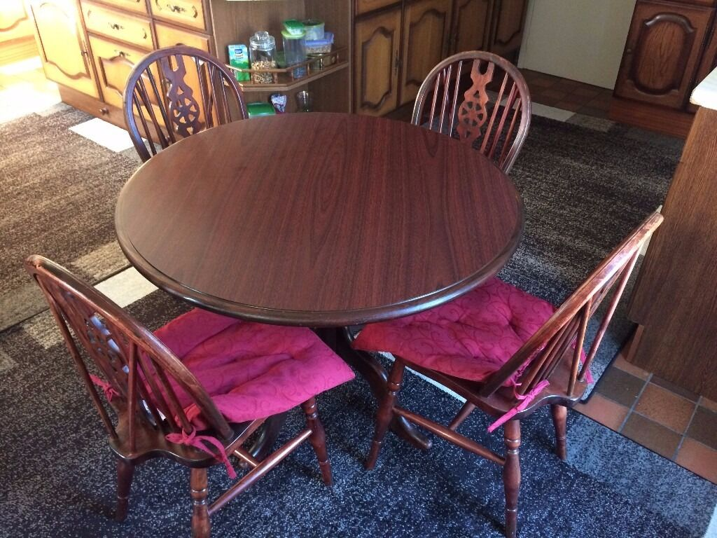 """Dining set Table with 4 chairsin Lewisham, LondonGumtree - Dining set Table diameter 100cm 39"""" & 4 Chairs in a very good condition. Collection from Catford SE6. Thanks"""