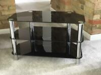 Tv stand table chrome and black glass