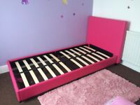 Kids bed frame in pink with slats and head board