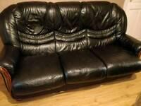 Dark Blue 3 Seater Leather Sofa