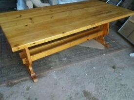 Old pine trestle table