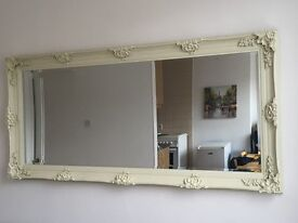 VERY LARGE FRENCH STYLE MIRROR - 165 cm x 75 cm - Ivory/Off-White Color