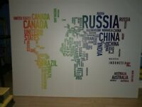 Large colourful world canvas