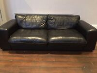 Black leather sofa - must collect tomorrow (Thursday)