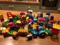 Duplo tractor, train, animals and bricks
