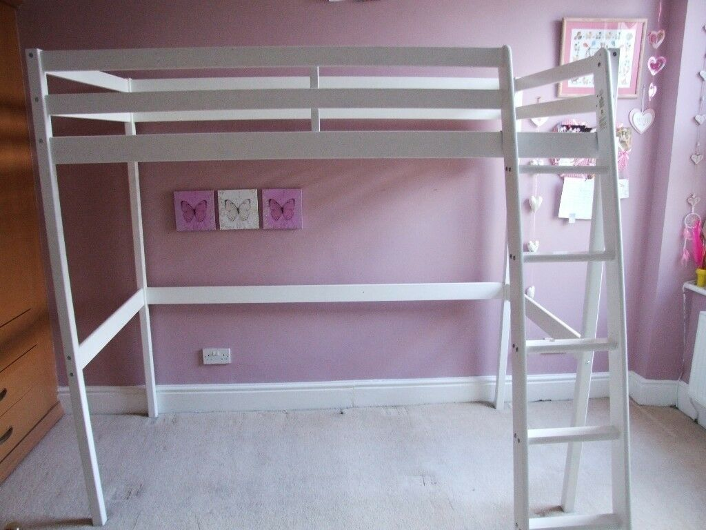 Child S Single Bed Frame Wooden White High Sleeper Space